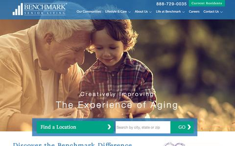 Screenshot of Home Page benchmarkseniorliving.com - Benchmark Senior Living | Senior Living - captured Nov. 14, 2016