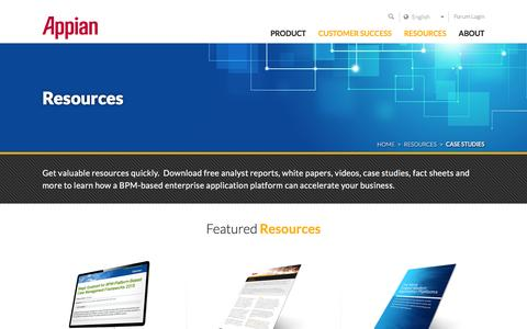 Screenshot of Case Studies Page appian.com - BPM Resources: White Papers, Case Studies & Reports | Appian - captured Dec. 10, 2015