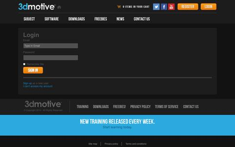 Screenshot of Login Page 3dmotive.com - 3dmotive - captured Sept. 19, 2014