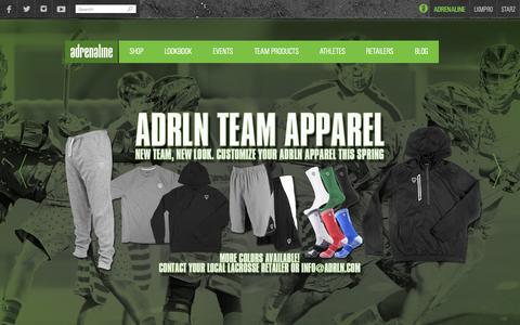 Screenshot of Home Page adrln.com - Home | Adrenaline Lacrosse - captured Oct. 7, 2015