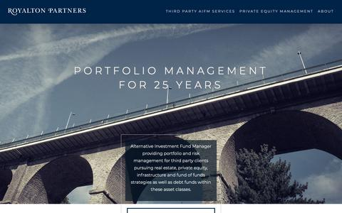 Screenshot of Home Page royalton-partners.com - Royalton Partners – Alternative Investment Fund Manager - captured Oct. 20, 2018