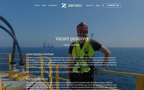 Screenshot of Jobs Page zensor.be - Jobs - Zensor - Infrastructure Analytics - captured Sept. 21, 2018