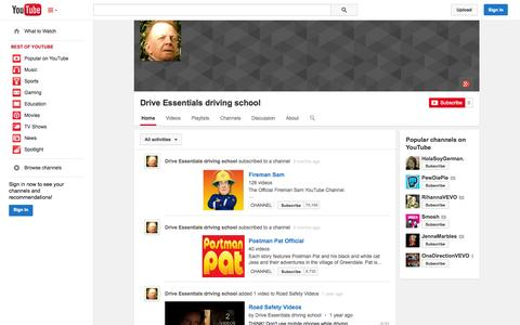 Screenshot of YouTube Page youtube.com - Drive Essentials driving school  - YouTube - captured Oct. 23, 2014
