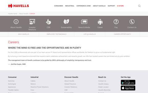 Screenshot of Jobs Page havells.com - Career in Havells India - captured Sept. 25, 2019