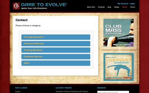 Screenshot of Contact Page daretoevolve.tv - Contact - Dare To Evolve - captured Sept. 30, 2014