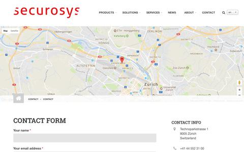 Screenshot of Contact Page securosys.ch - Contact   securosys - captured Sept. 30, 2017