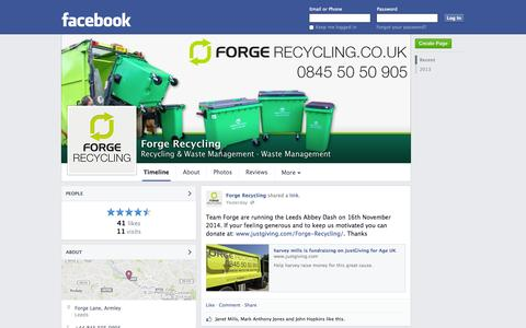 Screenshot of Facebook Page facebook.com - Forge Recycling - Leeds - Recycling & Waste Management, Waste Management | Facebook - captured Oct. 23, 2014