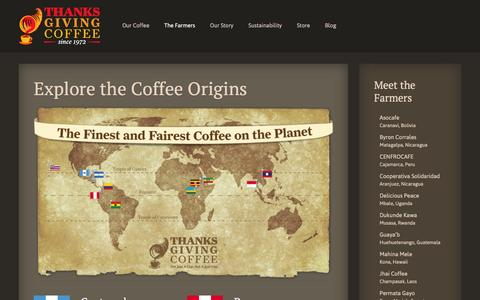 Screenshot of Maps & Directions Page thanksgivingcoffee.com - Explore the Coffee Origins - Thanksgiving Coffee - captured Feb. 25, 2016