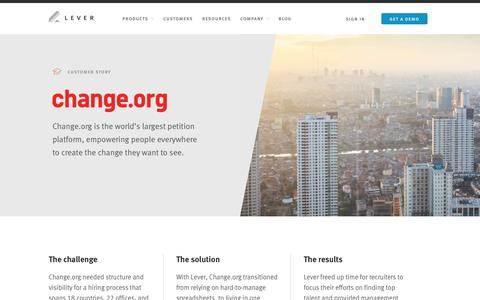 Screenshot of Case Studies Page lever.co - Change.org's story - captured Jan. 13, 2017