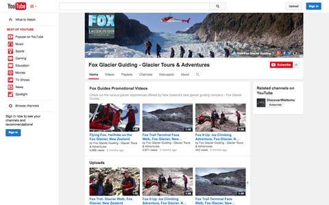 Screenshot of YouTube Page youtube.com - Fox Glacier Guiding - Glacier Tours & Adventures  - YouTube - captured Oct. 23, 2014
