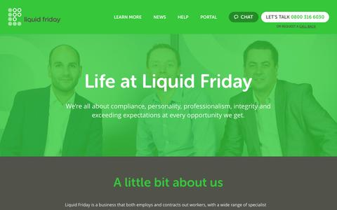 Screenshot of About Page liquidfriday.co.uk - Life at Liquid Friday -  responsible, flexible & compliant employers - captured Oct. 2, 2014