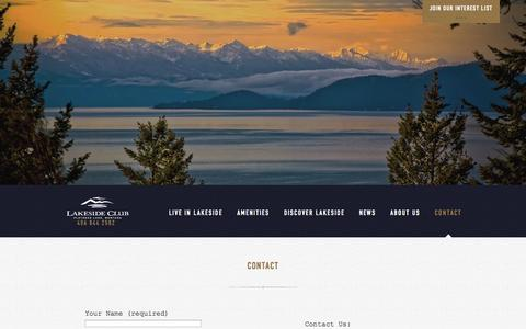 Screenshot of Contact Page lakesideclub.com - Contact - Lakeside Club Discovery Visit - captured Oct. 27, 2014