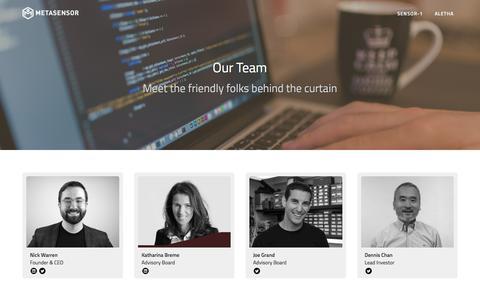 Screenshot of Team Page metasensor.com - MetaSensor: Devices for the Modern World - captured Aug. 10, 2016