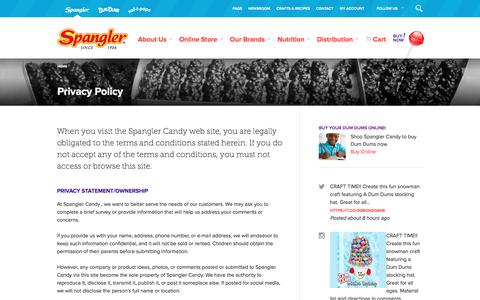 Screenshot of Privacy Page spanglercandy.com - Spangler Candy Privacy Policy - captured Jan. 11, 2016