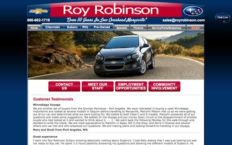 Screenshot of Testimonials Page royrobinson.com - Roy Robinson Testimonials | Read real customer reviews now - captured Oct. 7, 2014
