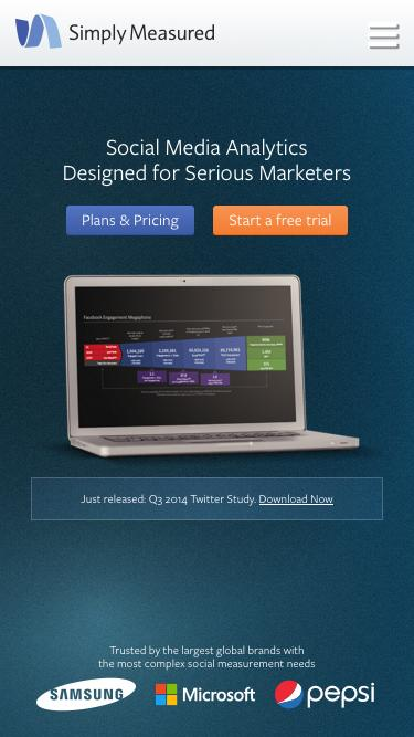 Screenshot of Home Page  simplymeasured.com - Easy Social Media Analytics & Measurement | Simply Measured