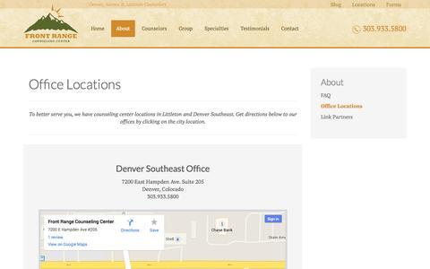 Screenshot of Locations Page frontrangecounselingcenter.com - Littleton & Denver Counseling Office Locations        Front Range Counseling Center - captured Sept. 30, 2014