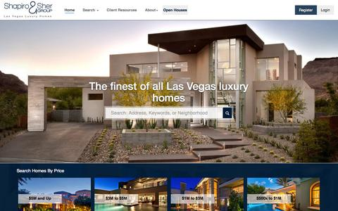 Screenshot of Home Page lasvegasfinehomes.com - Las Vegas Luxury Homes | Luxury Properties and Luxury Real Estate by Shapiro & Sher Group - captured Sept. 23, 2014
