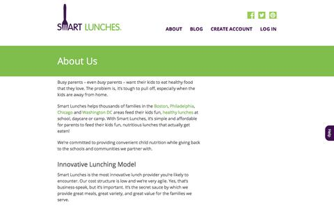 Screenshot of About Page smartlunches.com - Smart Lunches | About Us - captured Sept. 11, 2019