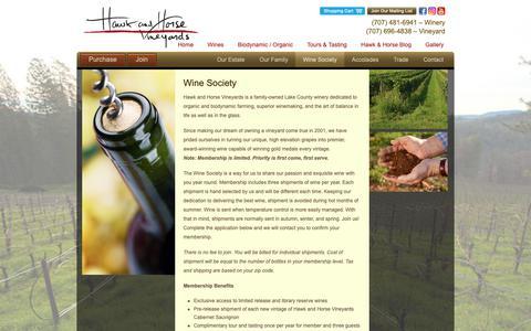 Screenshot of Signup Page hawkandhorsevineyards.com - Wine Society - captured Nov. 4, 2018