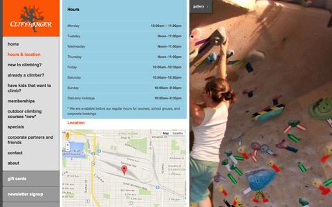 Screenshot of Maps & Directions Page cliffhangerclimbing.com - Hours & Location |  Cliffhanger Climbing Vancouver - captured Nov. 2, 2014
