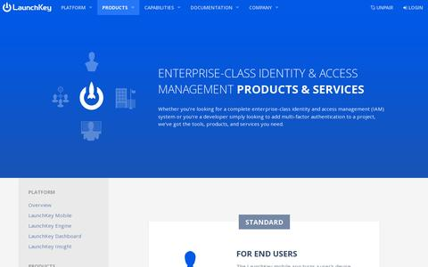 Screenshot of Products Page launchkey.com - LaunchKey Products and Services - captured July 19, 2014
