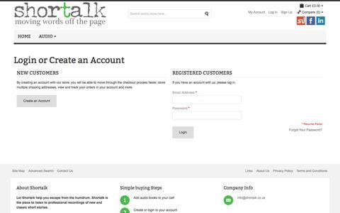 Screenshot of Login Page shortalk.co.uk - Shortalk - Customer Login - captured Oct. 10, 2014