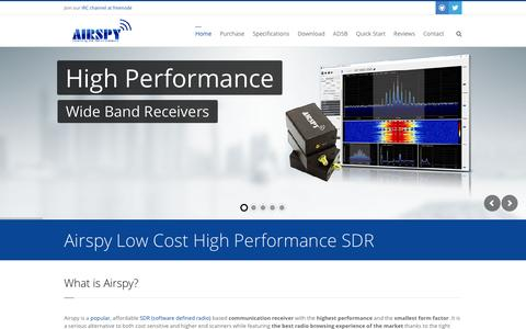 Screenshot of Home Page airspy.com - Airspy SDR# | Low Cost High Performance Software Defined Radio - captured Jan. 15, 2016