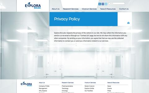 Screenshot of Privacy Page explorabiolabs.com - Privacy Policy | Explora BioLabs - captured Oct. 28, 2014