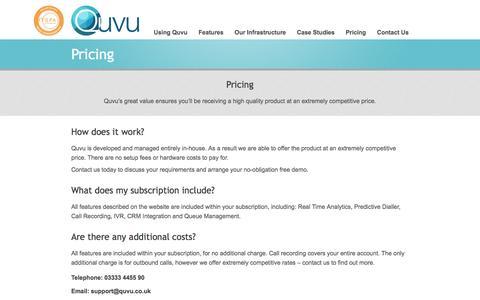 Screenshot of Pricing Page quvu.co.uk - Pricing - Quvu UK - captured July 20, 2016