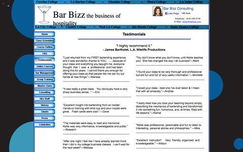 Screenshot of Testimonials Page barbizz.com - Testimonials - captured Aug. 1, 2018