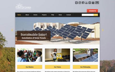 Screenshot of Home Page powerupgambia.org - Home - Power Up Gambia - captured July 15, 2016