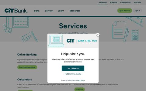 Screenshot of Services Page cit.com - CIT Bank Services - captured July 1, 2019