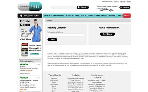 Screenshot of Login Page pharmacyfirst.co.uk - Pharmacy First - Online Pharmacy UK, Discounted Medicines Chemist, Private Prescription Drugs, Pharmacist UK, Health & Beauty Products - captured Sept. 22, 2014