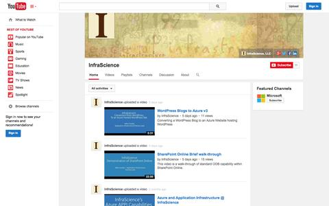 Screenshot of YouTube Page youtube.com - InfraScience  - YouTube - captured Oct. 25, 2014