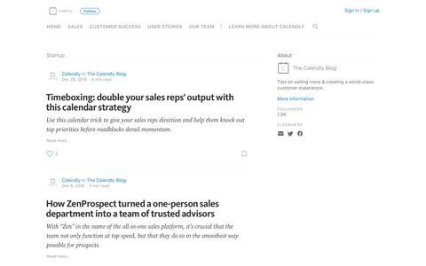 Screenshot of Blog calendly.com - Startup – The Calendly Blog - captured April 2, 2017