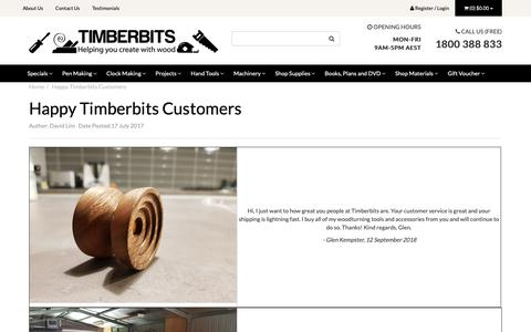 Screenshot of Testimonials Page timberbits.com - Happy Timberbits Customers - captured Oct. 23, 2018