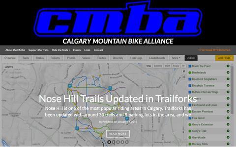 Screenshot of Home Page cmbalink.com - Calgary Mountain Bike Alliance - Ride It Like You Built It! - captured Jan. 24, 2016