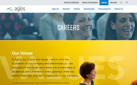 Screenshot of Jobs Page agios.com - Our Values | Agios | The Other Side of Possible - captured July 13, 2018