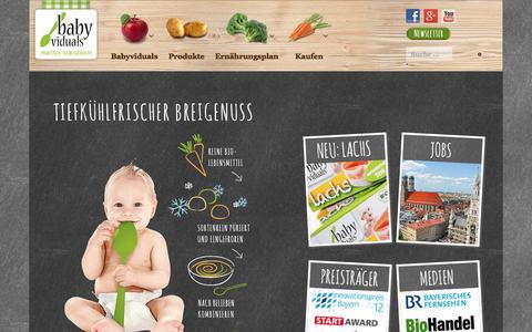 Screenshot of Home Page babyviduals.de - Babyviduals - tiefgekühlte Bio-Babynahrung - captured Feb. 7, 2016