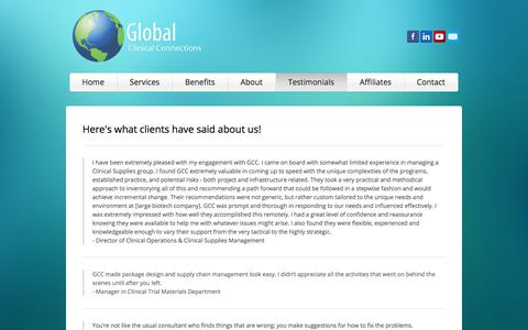 Screenshot of Testimonials Page globalclinicalconnections.com - Testimonials - Global Clinical Connections - captured July 19, 2018
