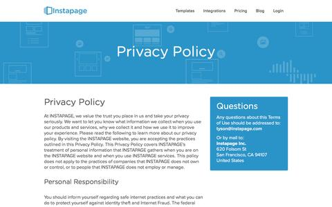 Screenshot of Privacy Page instapage.com - Privacy Policy � Instapage - captured Nov. 25, 2015