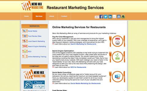 Screenshot of Services Page menumixmarketing.com - Menu Mix Marketing: Online Marketing Services for Restaurants - captured Oct. 27, 2014