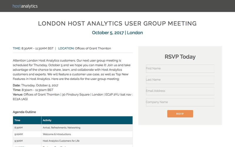 Join Our User Group in London   Host Analytics
