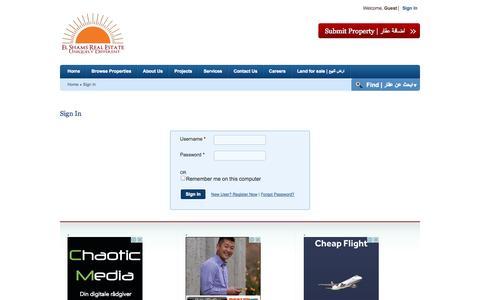 Screenshot of Login Page elshams.com - El Shams Real Estat   الشمس للتسويق العقارى - captured Oct. 2, 2014