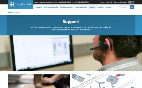 Screenshot of Support Page imageholders.com - imageHOLDERS Tablet Enclosure & iPad Kiosk Support - captured Sept. 20, 2018