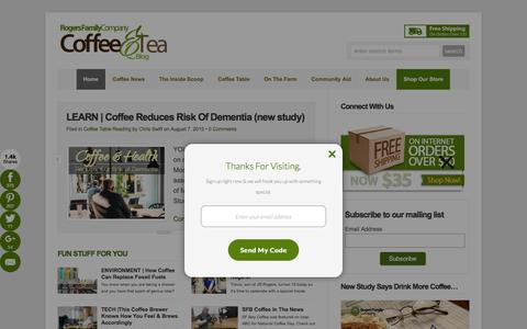 Screenshot of Home Page rogersfamilyco.com - The Best Gourmet Coffee From a Family Coffee Company  : Rogers Family Coffee - captured Oct. 15, 2015