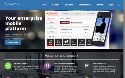 Screenshot of Home Page openratio.com - OpenRatio - Enterprise Mobile Application Platform - BYOD | Enterprise mobile platform. MBaaS – MPaaS – BYOD - captured Sept. 30, 2014