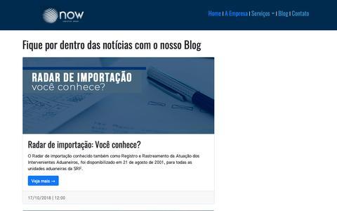 Screenshot of Blog nowlogistics.com.br - Blog  - Now Logistics Group - captured Nov. 18, 2018