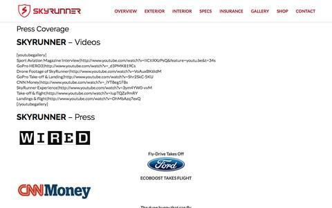 Screenshot of Press Page flyskyrunner.com - Press Coverage | SkyRunner - captured Dec. 1, 2016